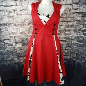 KillReal 50's Red, White, and Black Dress Size XL